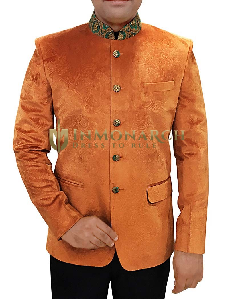 Mens Orange 2 Pc Jodhpuri Suit Paisley Design