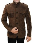 Mens Brown Jute Velvet 2 Pc Jodhpuri Suit Safari