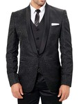 Mens Designer Black 6 Pc Party Wear Tuxedo Suit