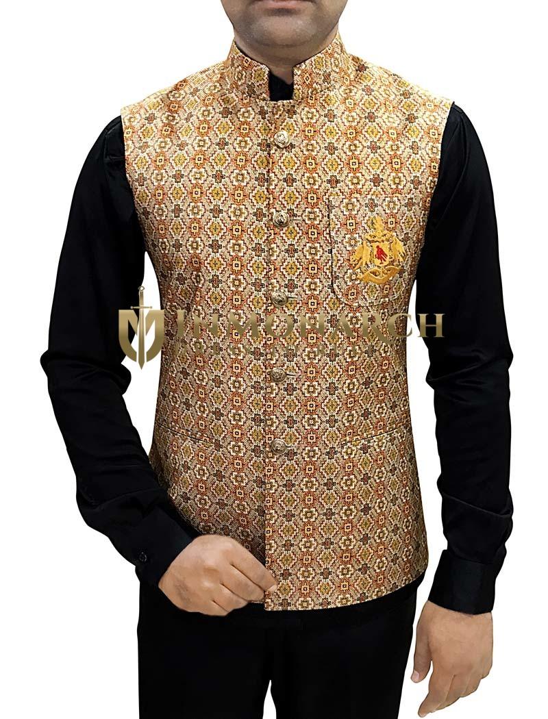 Mens Bisque Nehru Vest Embroidery Logo Modi Jacket for men