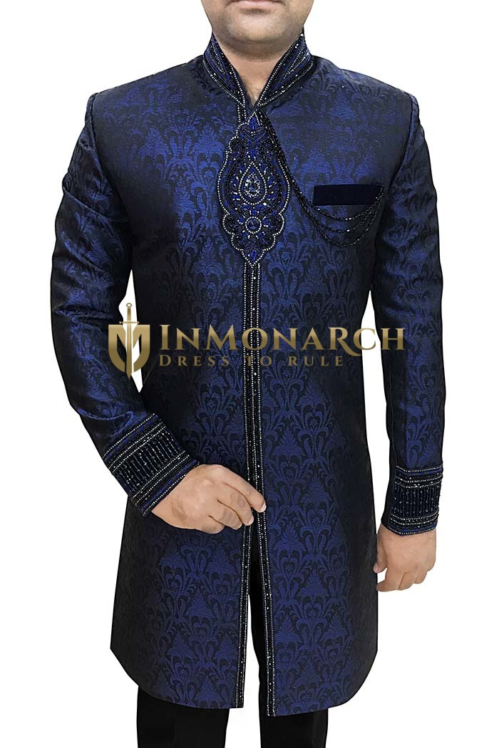 Mens Sherwani kurta Navy Blue Indowestern Embroidered Indian Sherwani