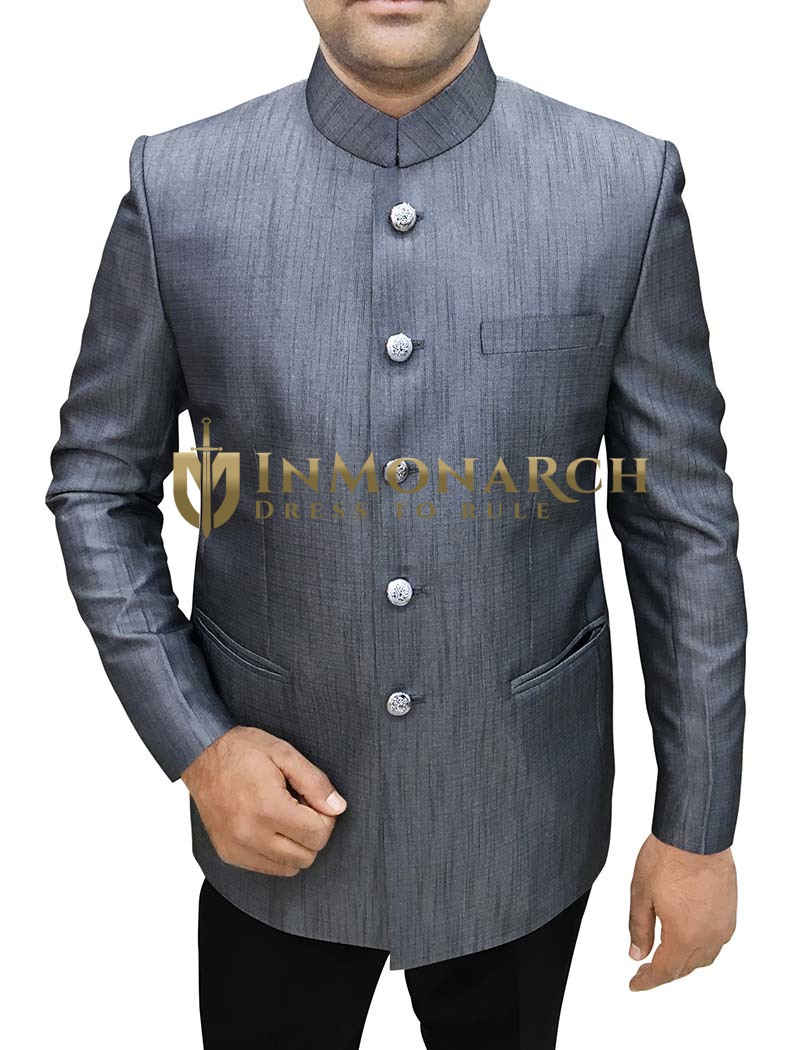 Mens Gray Polyester 2 Pc Jodhpuri Suit Self Lining