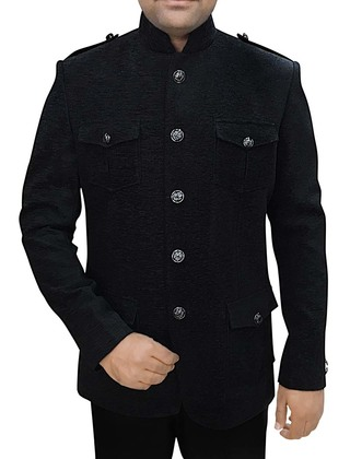 Mens Black Corduroy 2 Pc Jodhpuri Suit Safari Style
