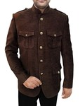 Mens Brown Jute Velvet 2 Pc Jodhpuri Suit 4 Pocket