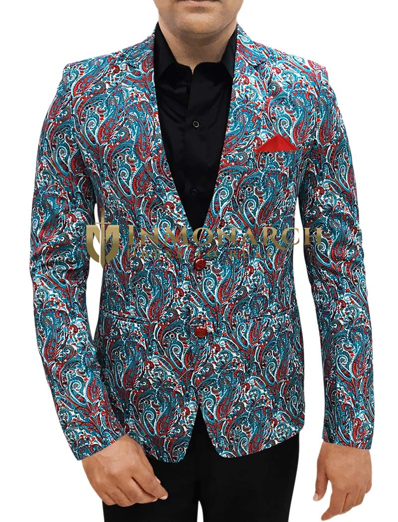 Mens Slim fit Casual Steel Blue Cotton Blazer sport jacket coat Paisley Designs