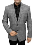Mens Slim fit Casual Silver Checks Blazer sport jacket coat Notched Lapel