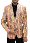 Mens Slim fit Casual Yellow and Blue Jute Silk Blazer sport jacket coat Paisley