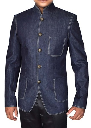 Mens Denim Blue Cotton Blazer Mandarin Collar Inmonarch