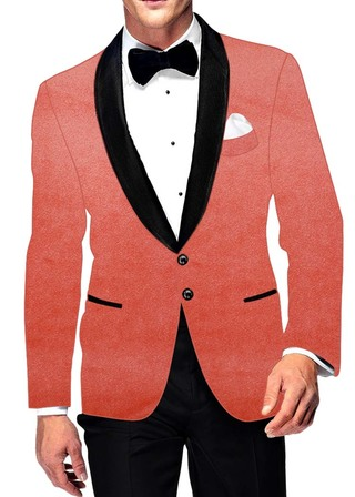 Mens Slim fit Casual Pink Velvet Blazer sport jacket coat Shawl Lapel