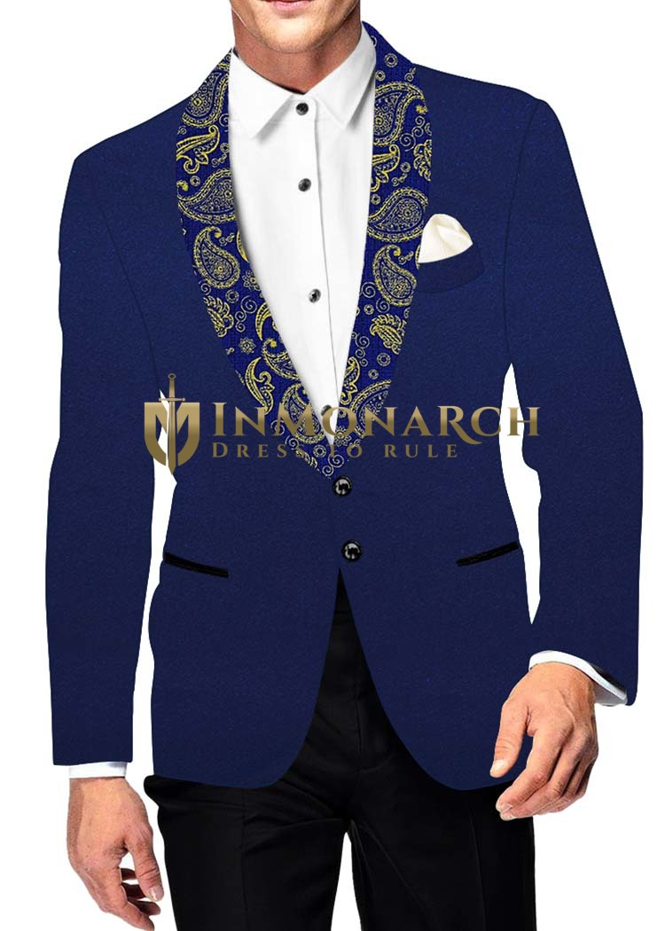 Mens Slim fit Casual Royal Blue Velvet Blazer sport jacket coat Two Button