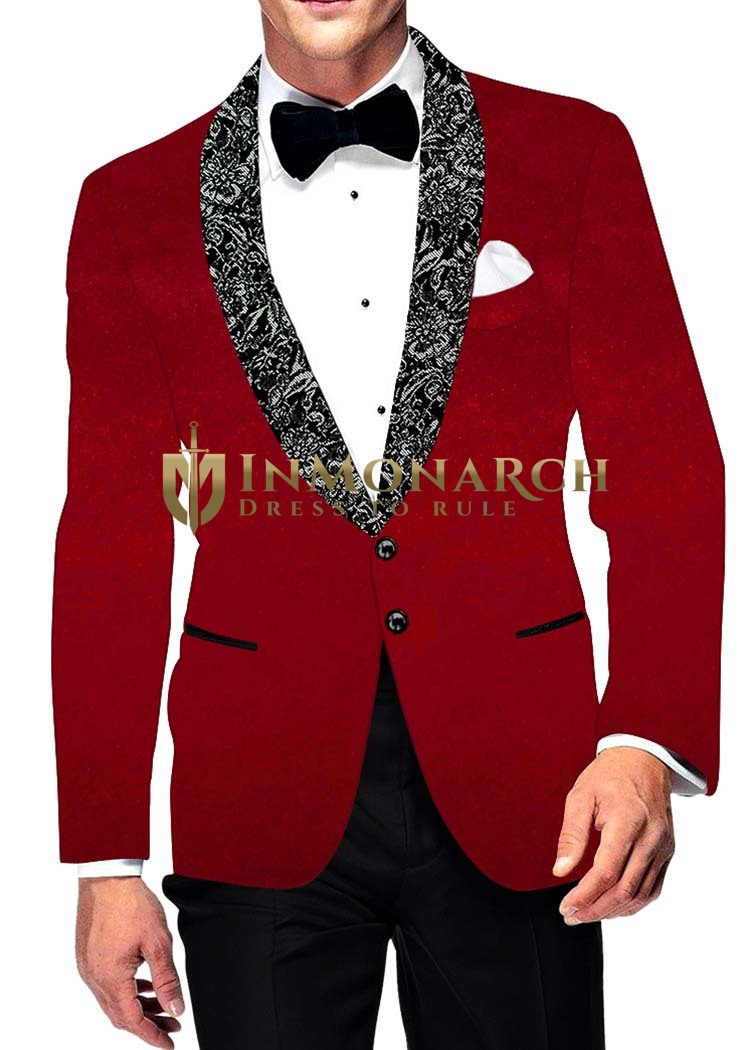 Mens Slim fit Casual Crimson Velvet Blazer sport jacket coat Two Button