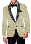 Mens Slim fit Casual Cream Brocade Blazer sport jacket coat Flower Design