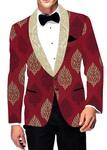 Mens Slim fit Casual Crimson Red Polyester Blazer sport jacket coat Floral Design