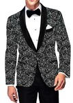 Mens Slim fit Casual Black Polyester Blazer sport jacket coat White Designs Print