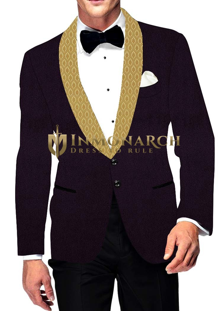 Mens Slim fit Casual Purple Wine Velvet Blazer sport jacket coat Designer Collar