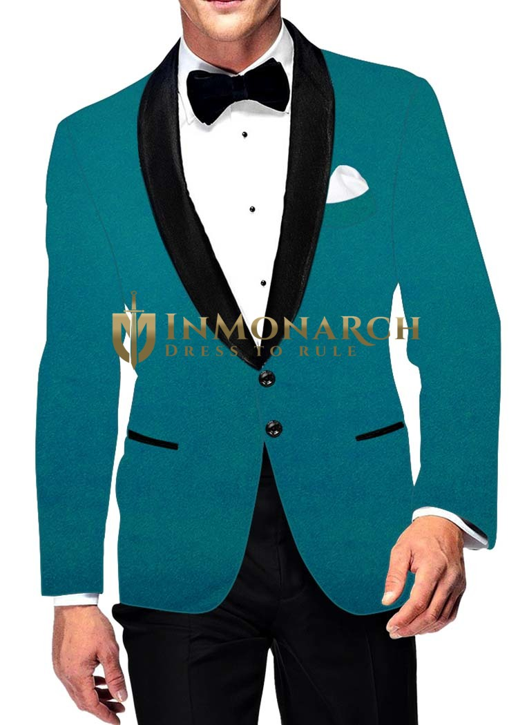 Mens Slim fit Casual Teal Velvet Blazer sport jacket coat Two Button