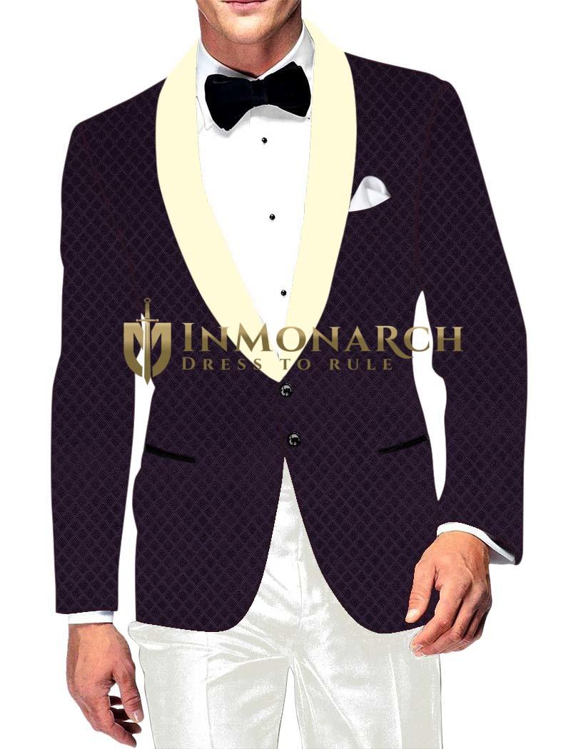 Mens Slim fit Casual Purple Wine Velvet Blazer sport jacket coat Checks Design