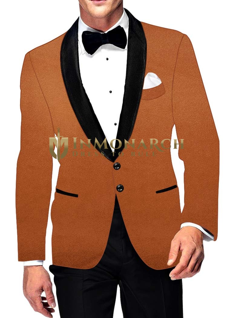 Mens Slim fit Casual Rust Velvet Blazer sport jacket coat Two Button