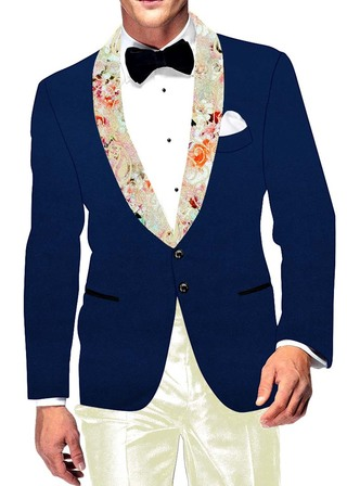 Mens Slim fit Casual Royal Blue Velvet Blazer sport jacket coat Printed Shawl Collar