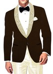Mens Slim fit Casual Brown Velvet Blazer sport jacket coat Shawl Lapel
