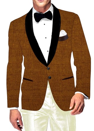 Mens Slim fit Casual Brown Jute Velvet Blazer sport jacket coat Two Button