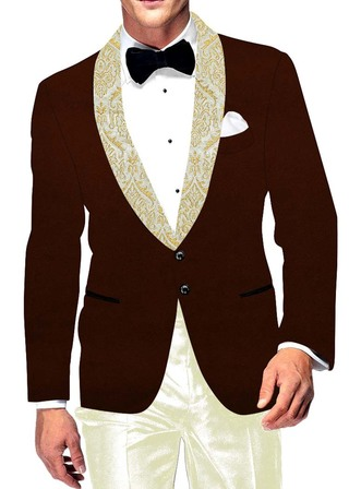 Mens Slim fit Casual Brown Velvet Blazer sport jacket coat Wedding Two Button