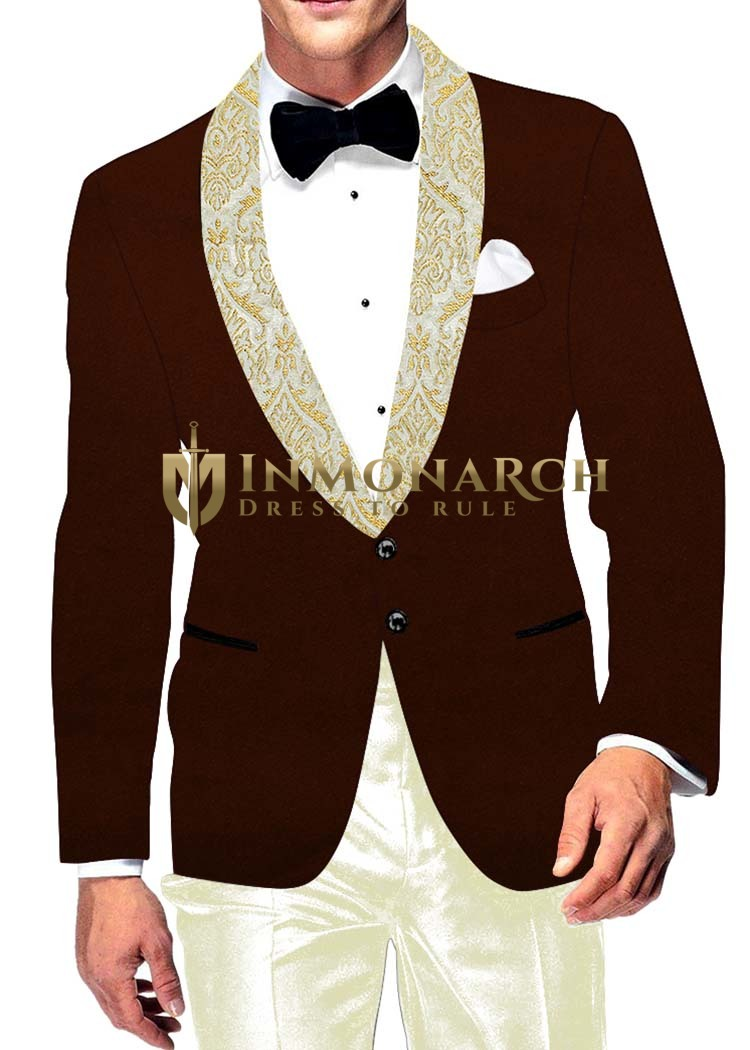 Mens Slim fit Casual Brown Velvet Blazer sport jacket coat Wedding Two Button
