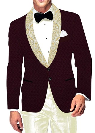 Mens Slim fit Casual Wine Velvet Blazer sport jacket coat Traditional Two Button