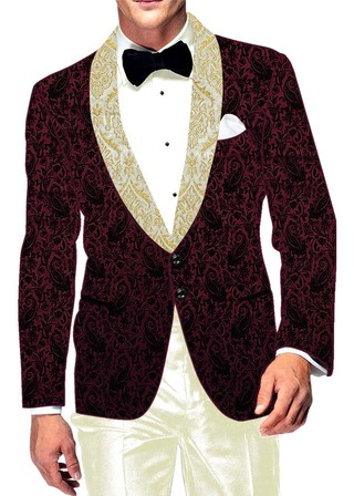Mens Slim fit Casual Magenta Velvet Blazer sport jacket coat Paisley Design