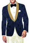 Mens Slim fit Casual Royal Blue Velvet Blazer sport jacket coat Paisley Designs