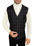 Mens Gray Polyester Viscose Vest Checks