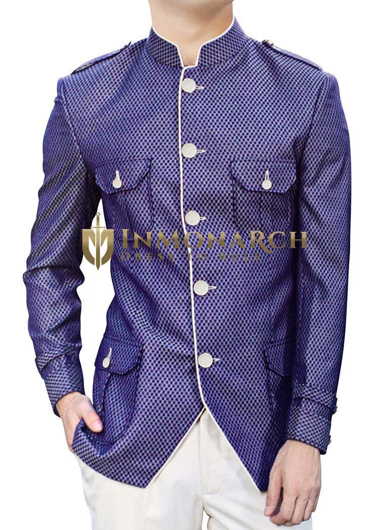 Mens Blue Polyester 2 Pc Jodhpuri Suit Safari Style