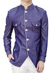 Mens Blue Polyester 2 Pc Jodhpuri Suit Safari Style