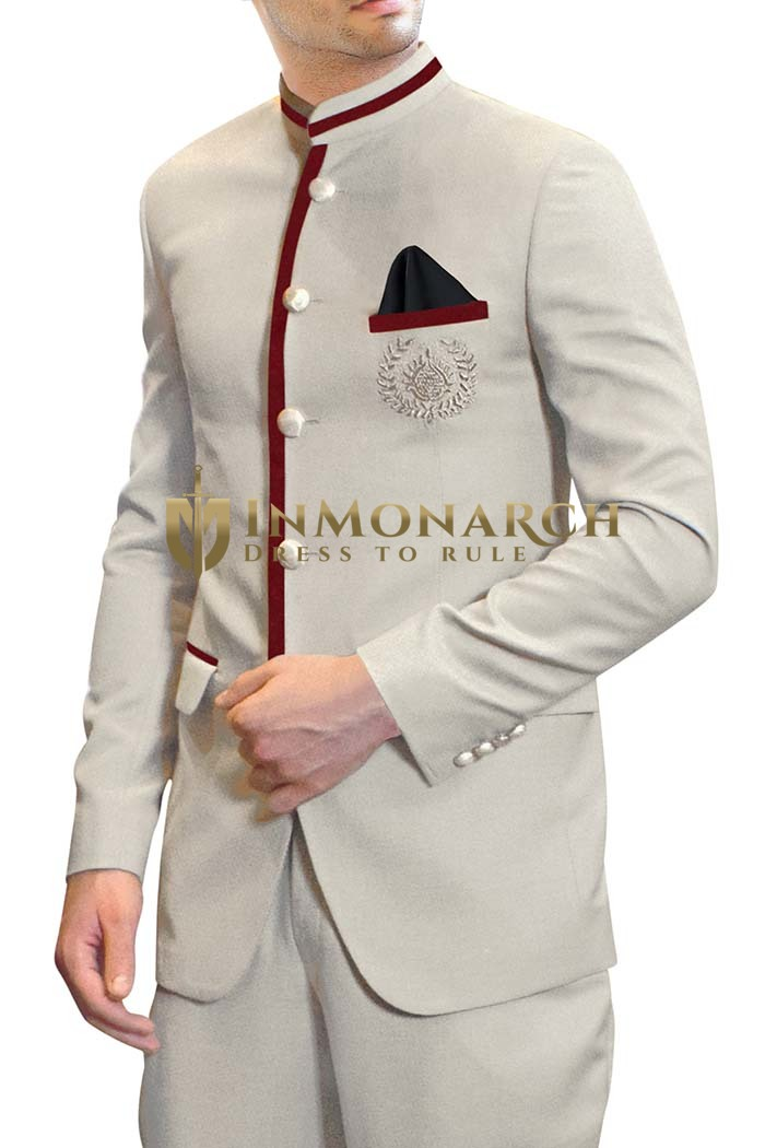 Mens Cream Polyester 3 Pc Jodhpuri Suit Trimmed Work