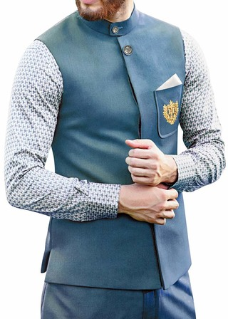 Mens Steel Blue Polyester 3 Pc Jodhpuri Suit Sleeves Less