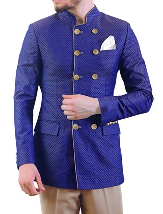 Mens Royal Blue Polyester 3 Pc Jodhpuri Suit Double Breasted