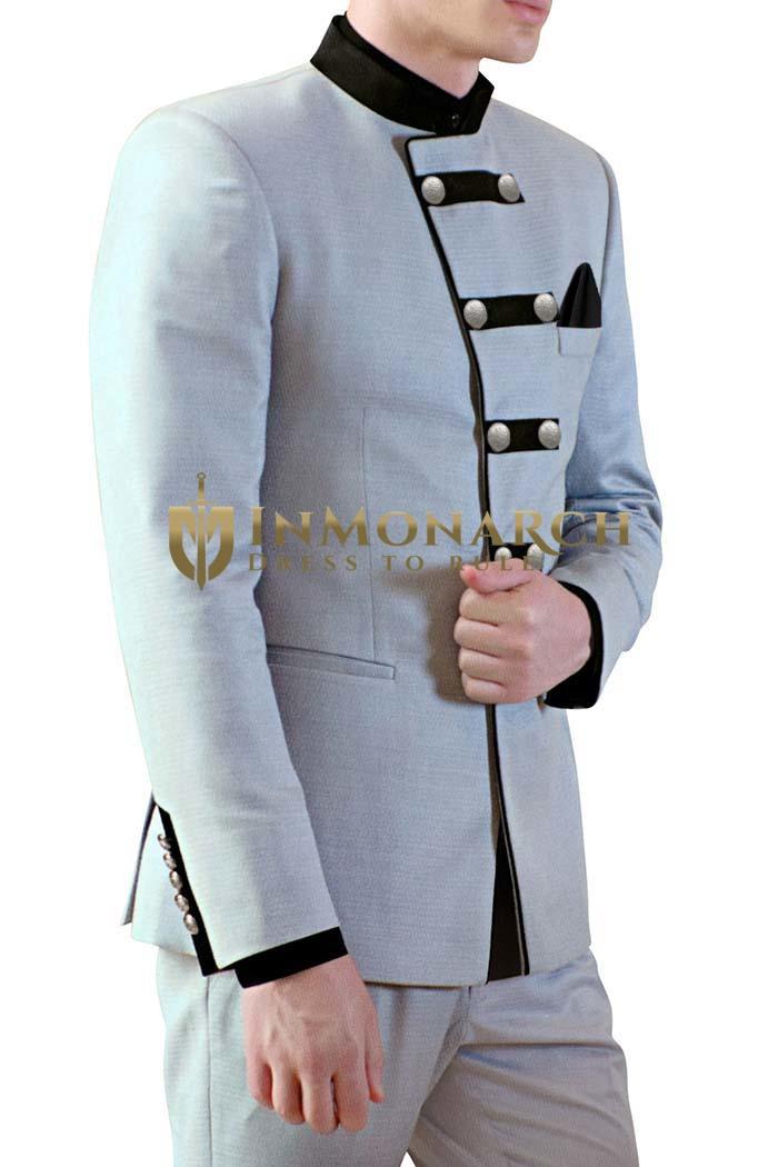 Mens Sky Blue Polyester 3 Pc Jodhpuri Suit Designer