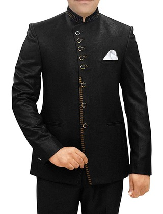 Mens Black Polyester 3 Pc Jodhpuri Suit Angrakha Style