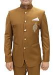 Mens Tan Polyester 3 Pc Jodhpuri Suit Designer Partywear