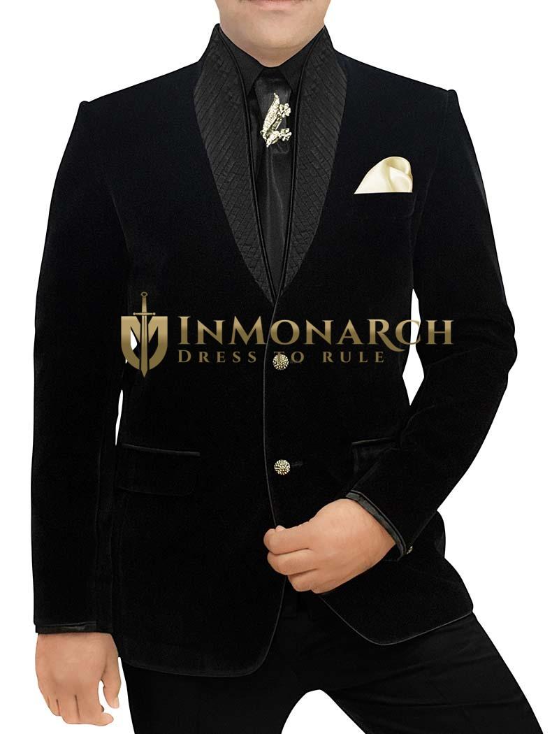 Mens Black Velvet 6 Pc Tuxedo Suit High Neck