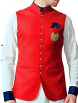 Red Mens Festive Nehru Vest