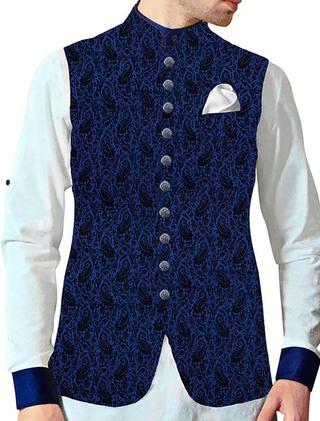 Nehru Jacket Mens Royal Blue Nehru Vest Paisley Design