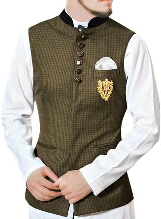 Mens Olive Drab Festive Vest Designer Waistcoat