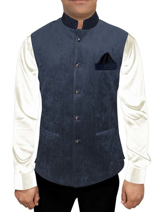 Modi Jacket for Men Dark Navy Corduroy Nehru Vest Traditional