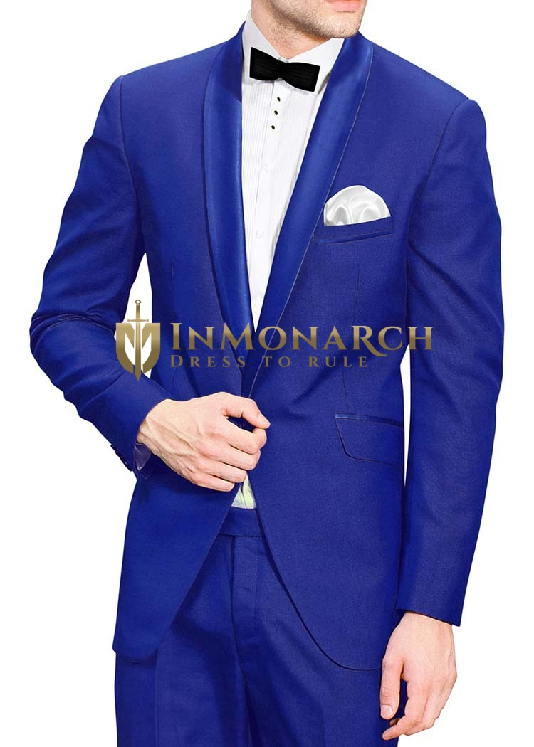 Mens Royal Blue 5 Pc Tuxedo Suit One Button
