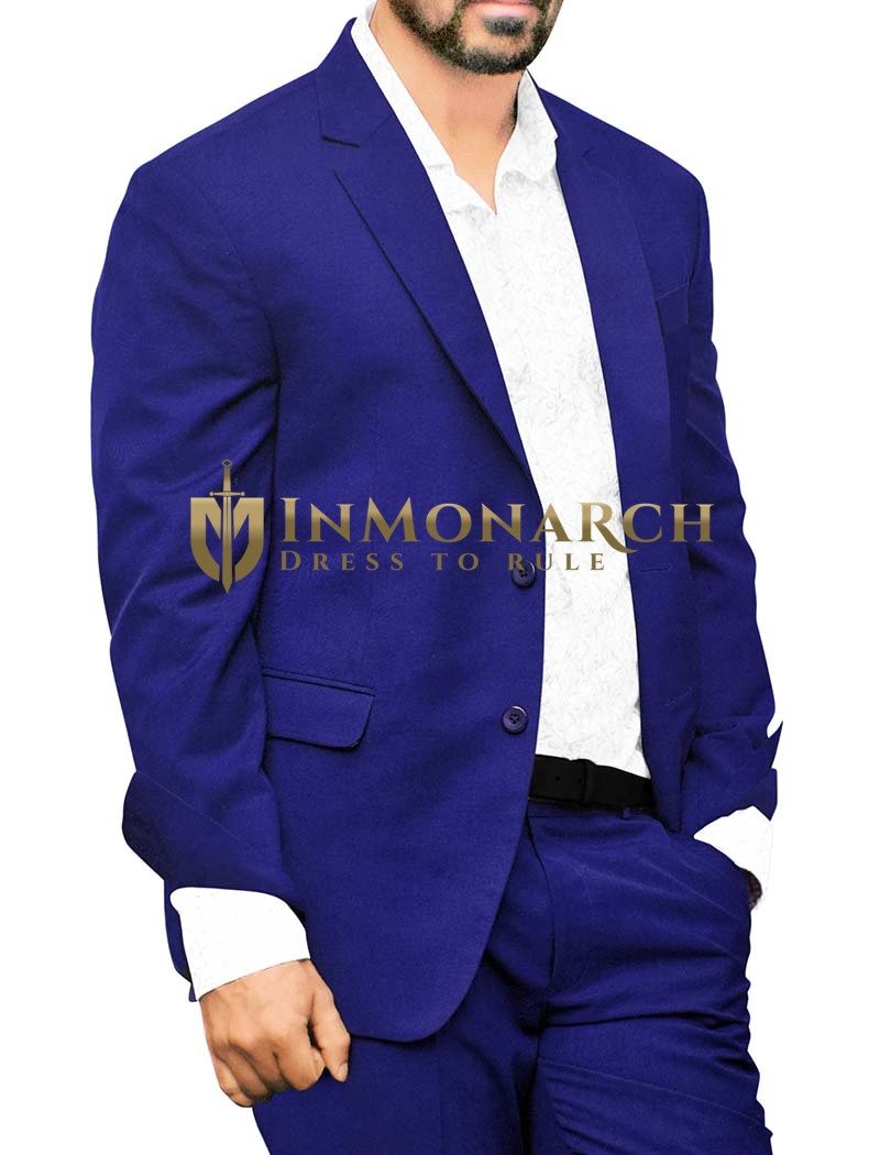Mens Royal Blue Polyester 3 Pc Tuxedo Suit For Partywear