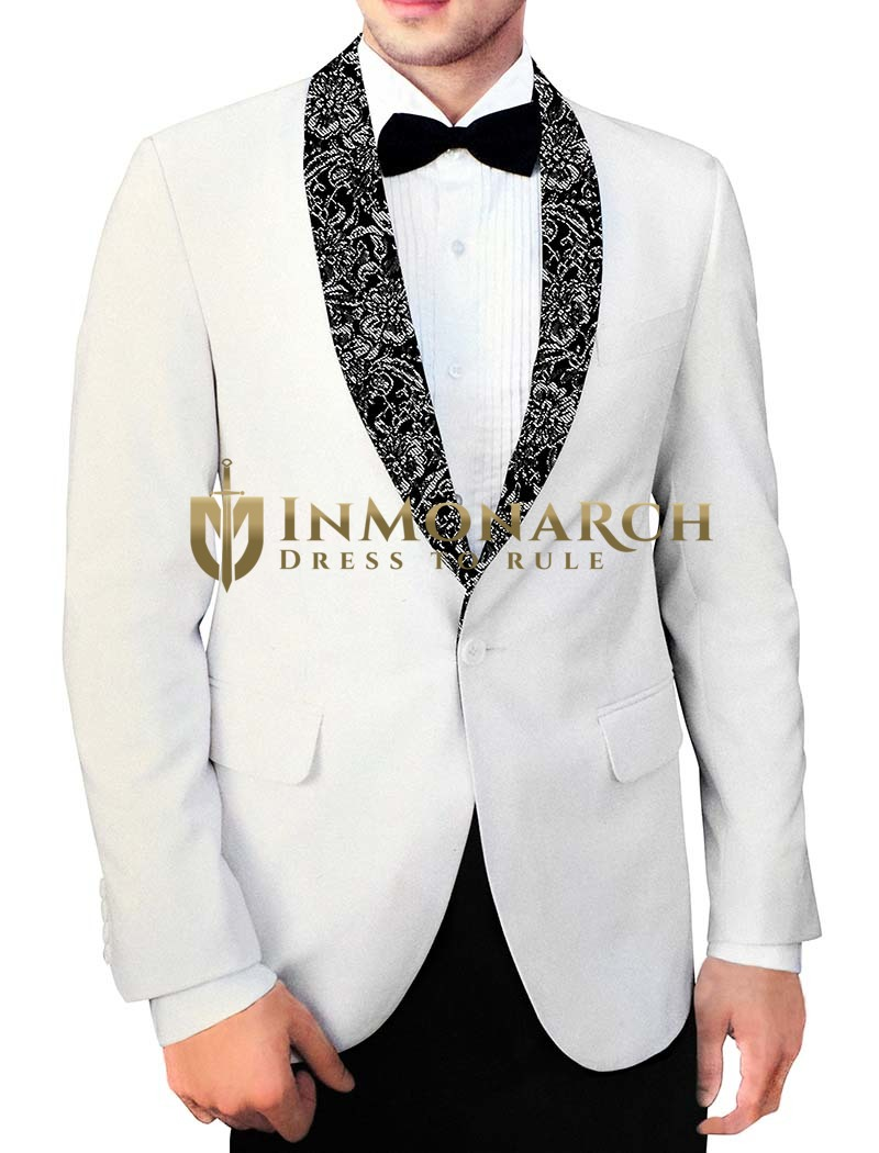 Mens Cream Polyester 4 Pc Tuxedo Suit Shawl Lapel