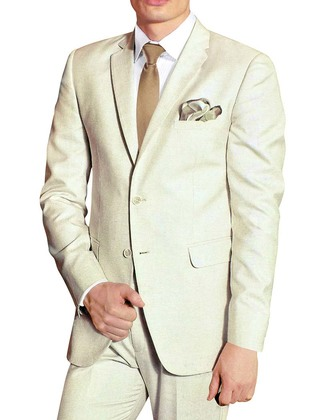 Mens Cream Polyester 5 Pc Tuxedo Suit Notch Collar