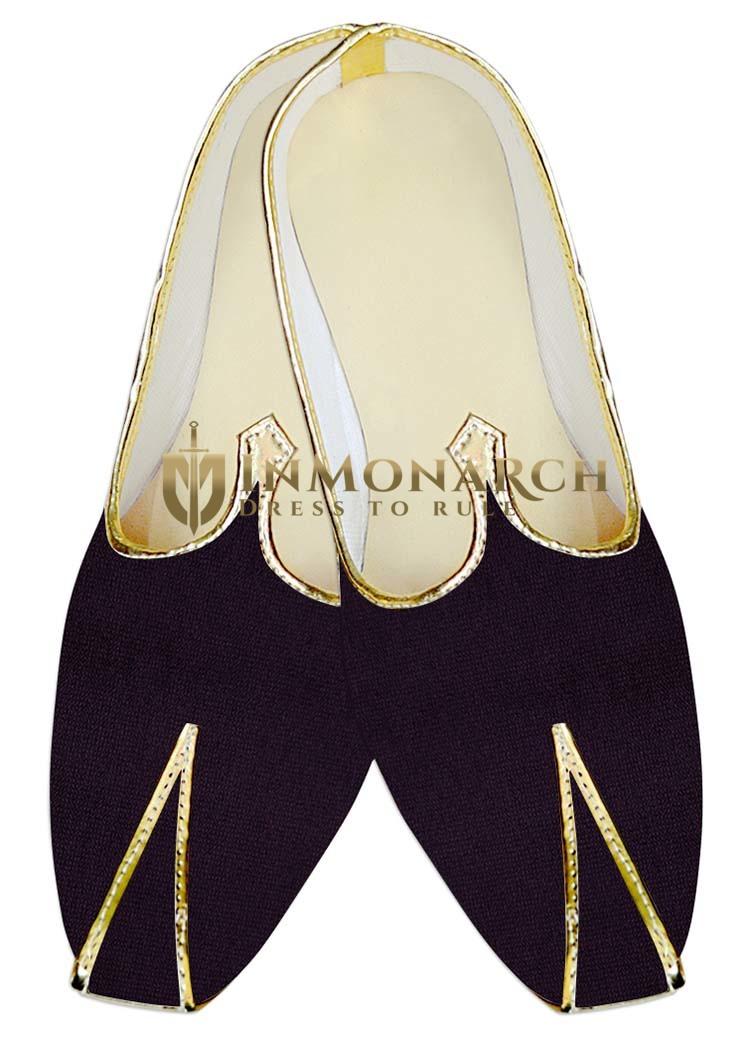 TraditionalShoes For Men Purple Wine Velvet Wedding Mojari Ethnic Indian Shoes