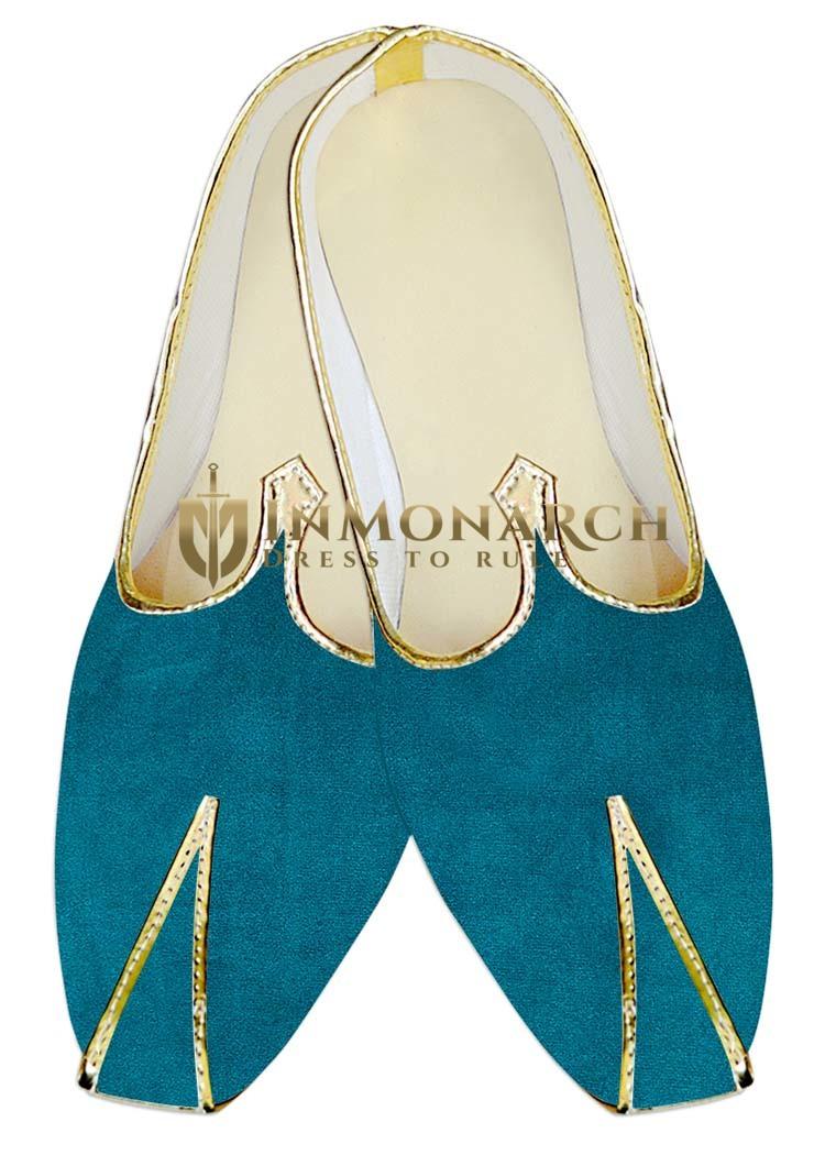 Indian MensShoes Teal Velvet Wedding Juti Mojari Sherwani Shoes